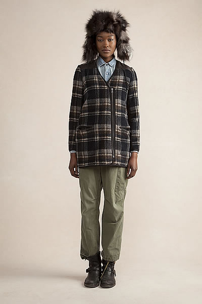 Sporty Cardigan Plaid Fleece